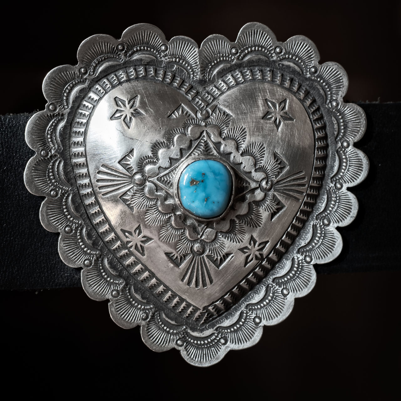 Silver & Turquoise NM Heart Design Buckle Achievement Black Background Gear New Mexico, USA Planet Earth Shiny Silver & Turquo Silver - Metal Silver Colored
