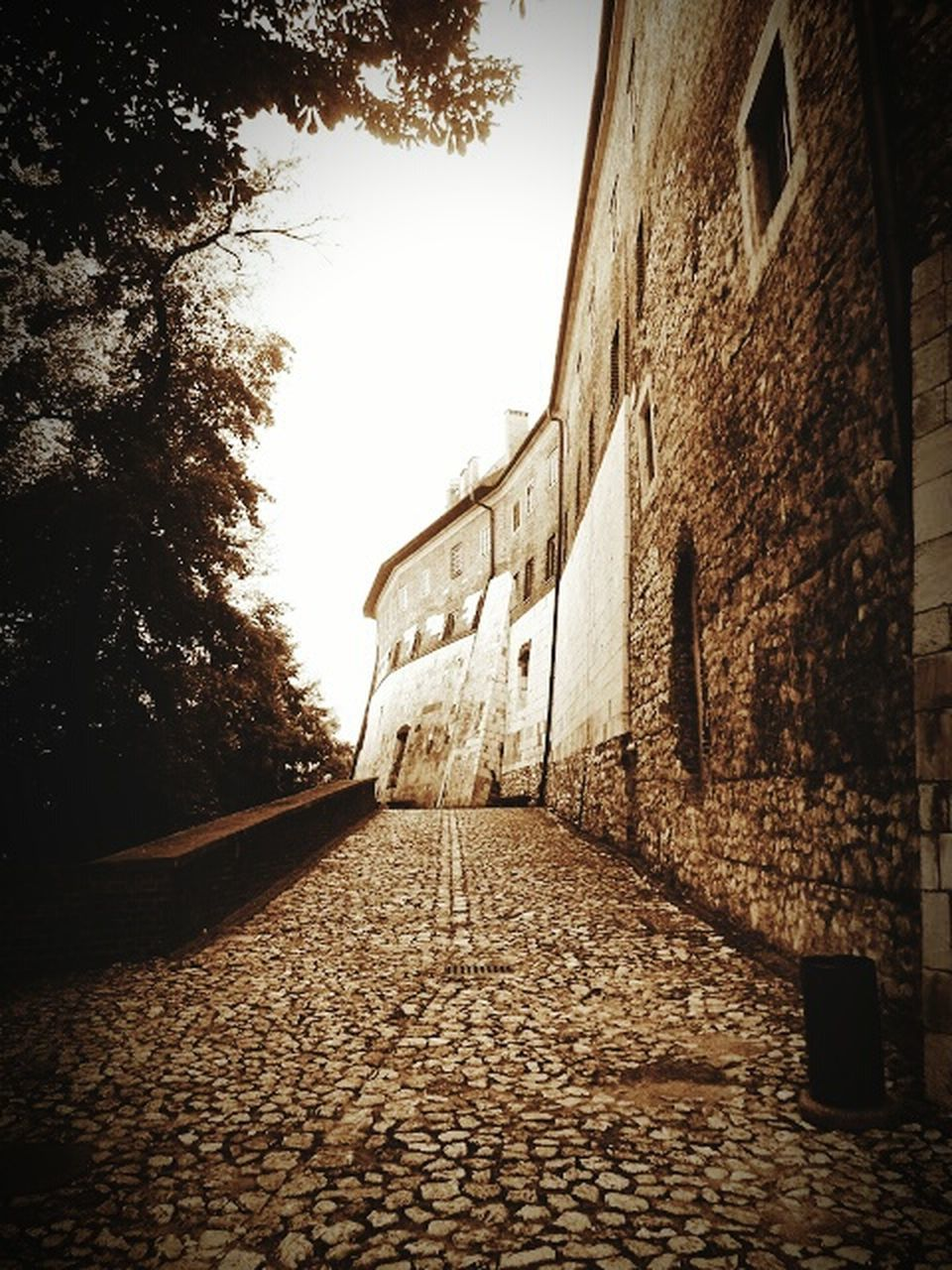 built structure, cobblestone, architecture, no people, building exterior, the way forward, day, history, outdoors, tree, sunlight, sky