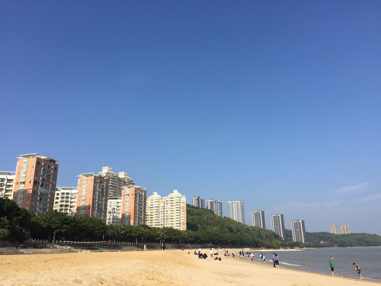 Building Exterior Architecture Built Structure Clear Sky City Blue Copy Space BEIJING北京CHINA中国BEAUTY Zhuhai Sea Water Beach Outdoors Day Sunlight Skyscraper Sand Cityscape Tree Vacations Nature No People