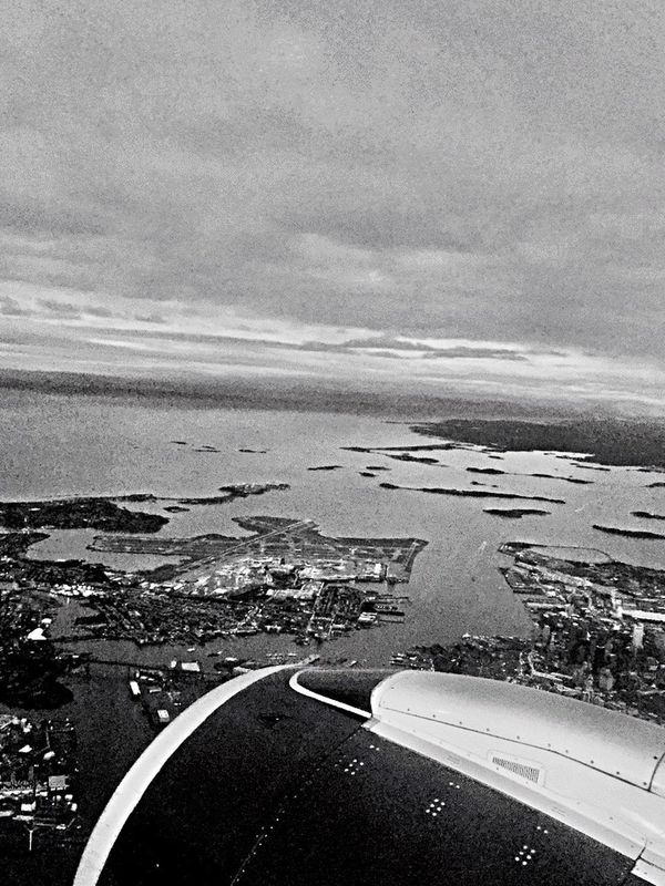 Flying High Airplane Blackandwhite Coming Home Airplaneview Landing - Touching Down Logan Airport Touching Down Airplane Window View High Angle View Upintheair UpinTheSky Airportphotography Lookingoutside