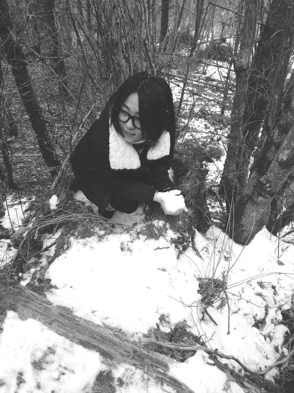 winter, tree, snow, one person, young women, nature, real people, cold temperature, forest, front view, young adult, leisure activity, outdoors, lifestyles, day, full length, sitting, branch, beautiful woman, warm clothing, people
