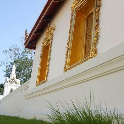 Temple wall at Wat Borom Niwat Worawihan Bangkok Thailand Streetphotography Cityscene Travelshots Explorethailand Explorebkk 5cm Greengrass Blueskies