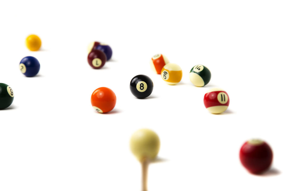 Balls Biliard Black Close-up Colorful Colors Height Isolated Laisure Multi Colored No People Numbers Pool Red Shoot Sport Still Life Studio Shot White White Background Yellow