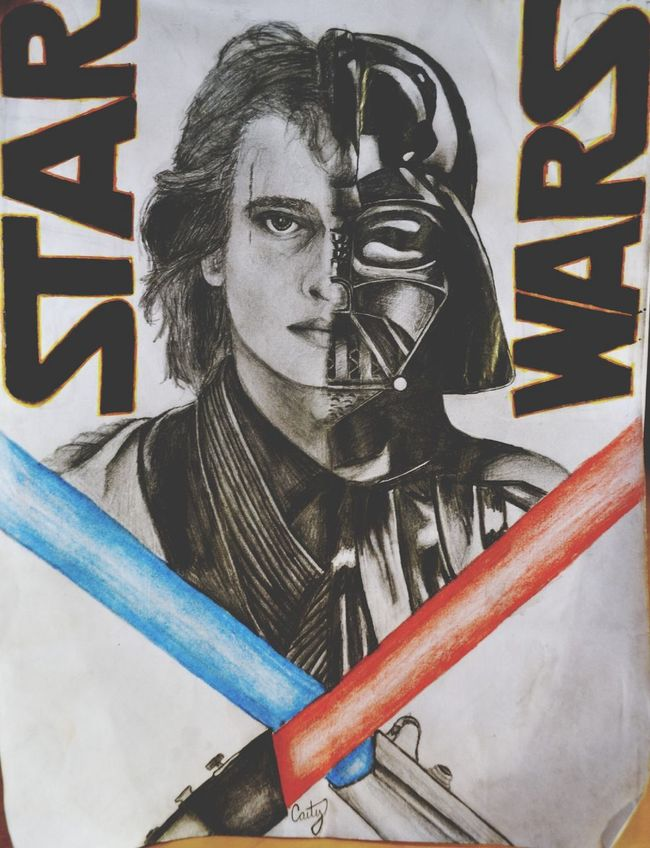 """""""The darkness is blinding consuming me.... I question every part of who I am it's hard to know which side of me is in the right with these two different people inside of me fighting for my life!"""" Serial Doodler Art Drawing Star Wars"""