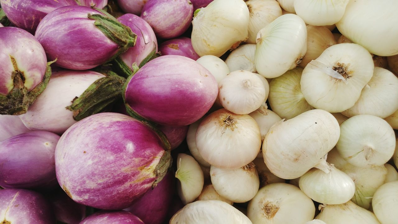 EyeEm Selects a delicious combination for Italian, Indian, Greek, and Chinese cuisine. Eggplants And Onion Backgrounds Healthy Lifestyle Hero Image California Farmers Market Healthy Eating Vegetable Freshness Food And Drink No People Organic Produce