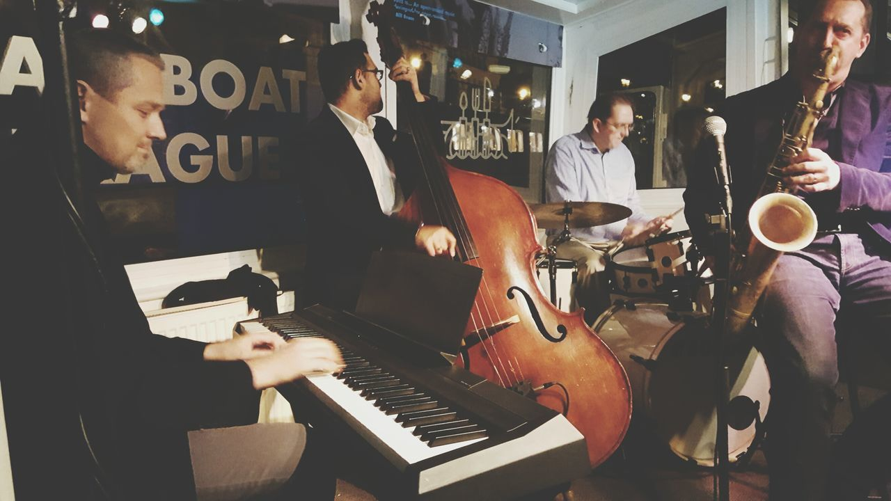 Musical Instrument Music Small Group Of People Guitar Musician Bass Instrument Happy Hour Nightlife Jazzband Jazzboat