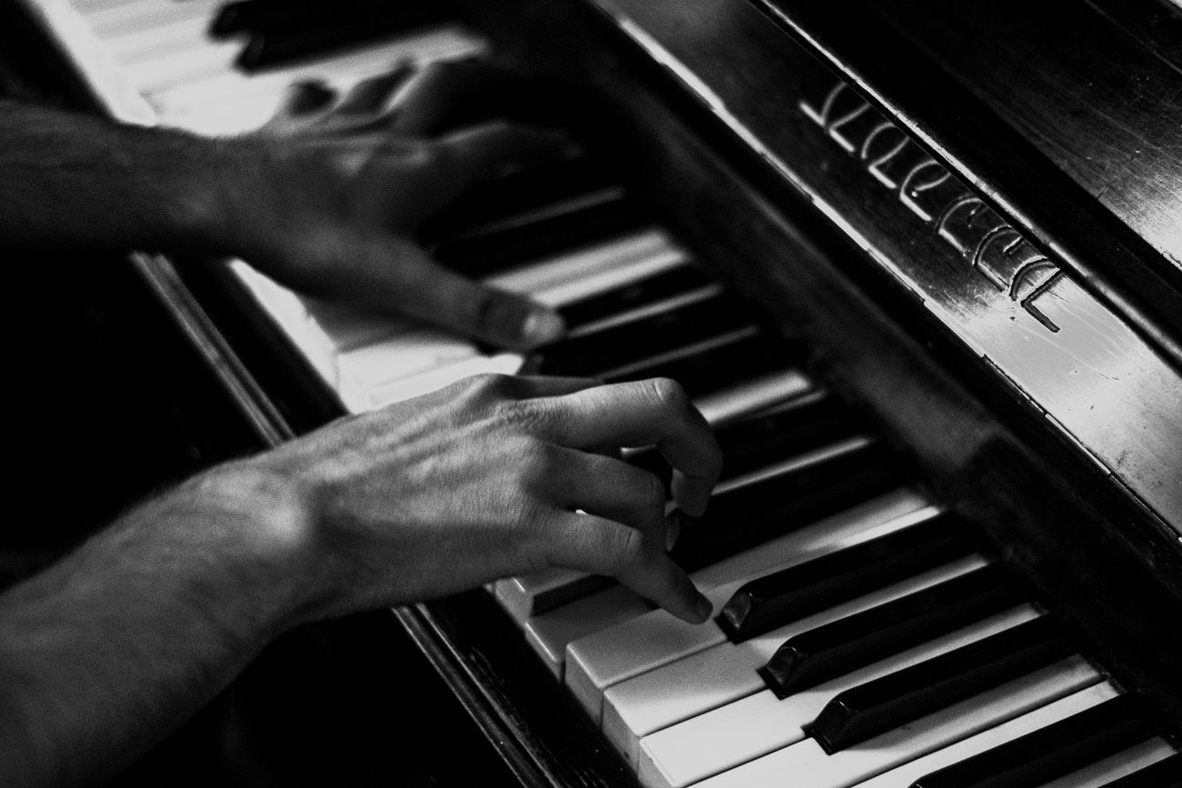 Black Blackadnwhite Bw Cropped Human Finger Indoors  Lifestyles Men Music Musical Instrument Part Of Person Piano Piano Key Playing Skill