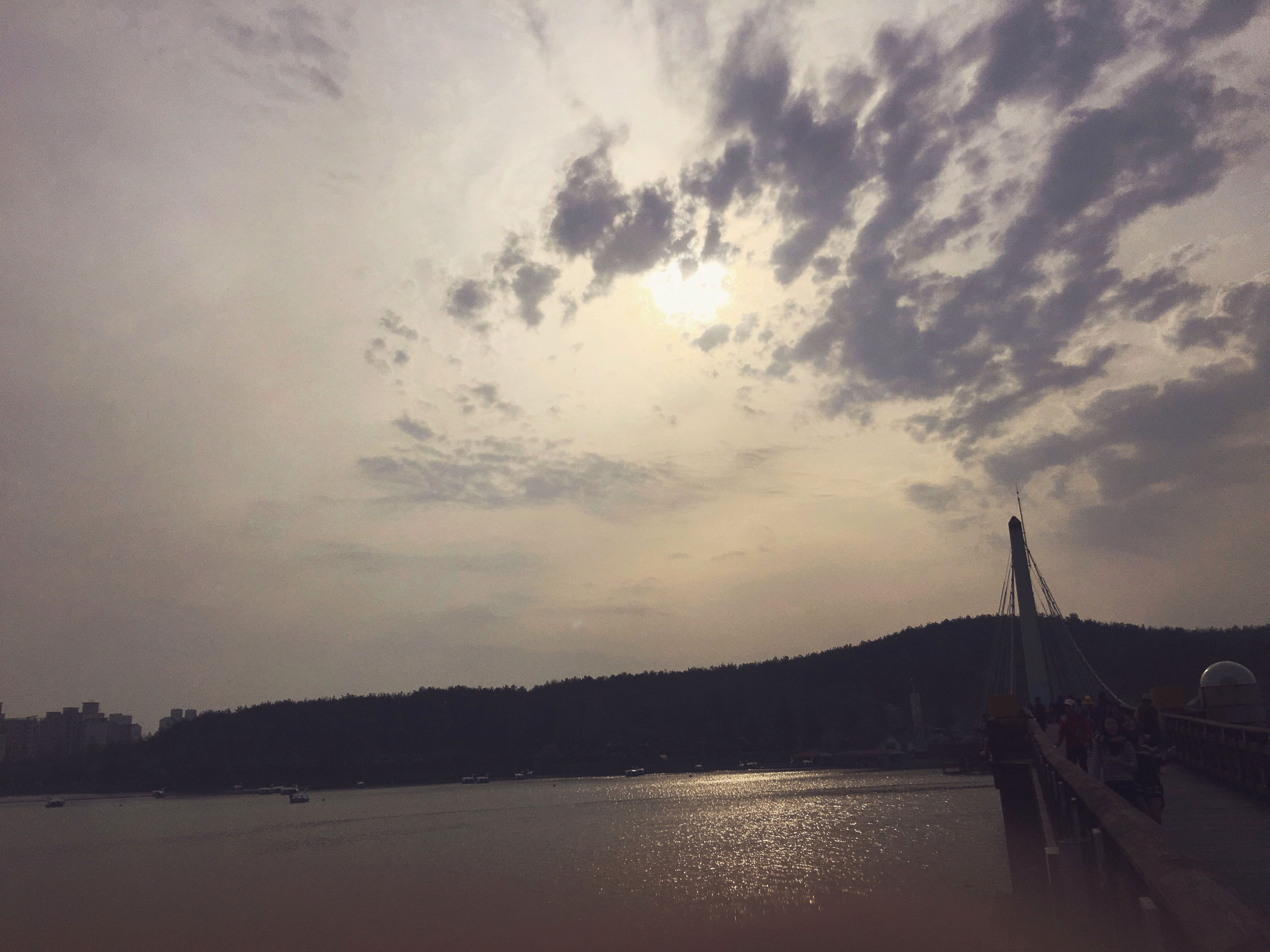 water, sky, waterfront, built structure, architecture, cloud - sky, river, connection, bridge - man made structure, cloudy, tranquility, silhouette, tranquil scene, scenics, nature, cloud, sunset, sea, beauty in nature, building exterior