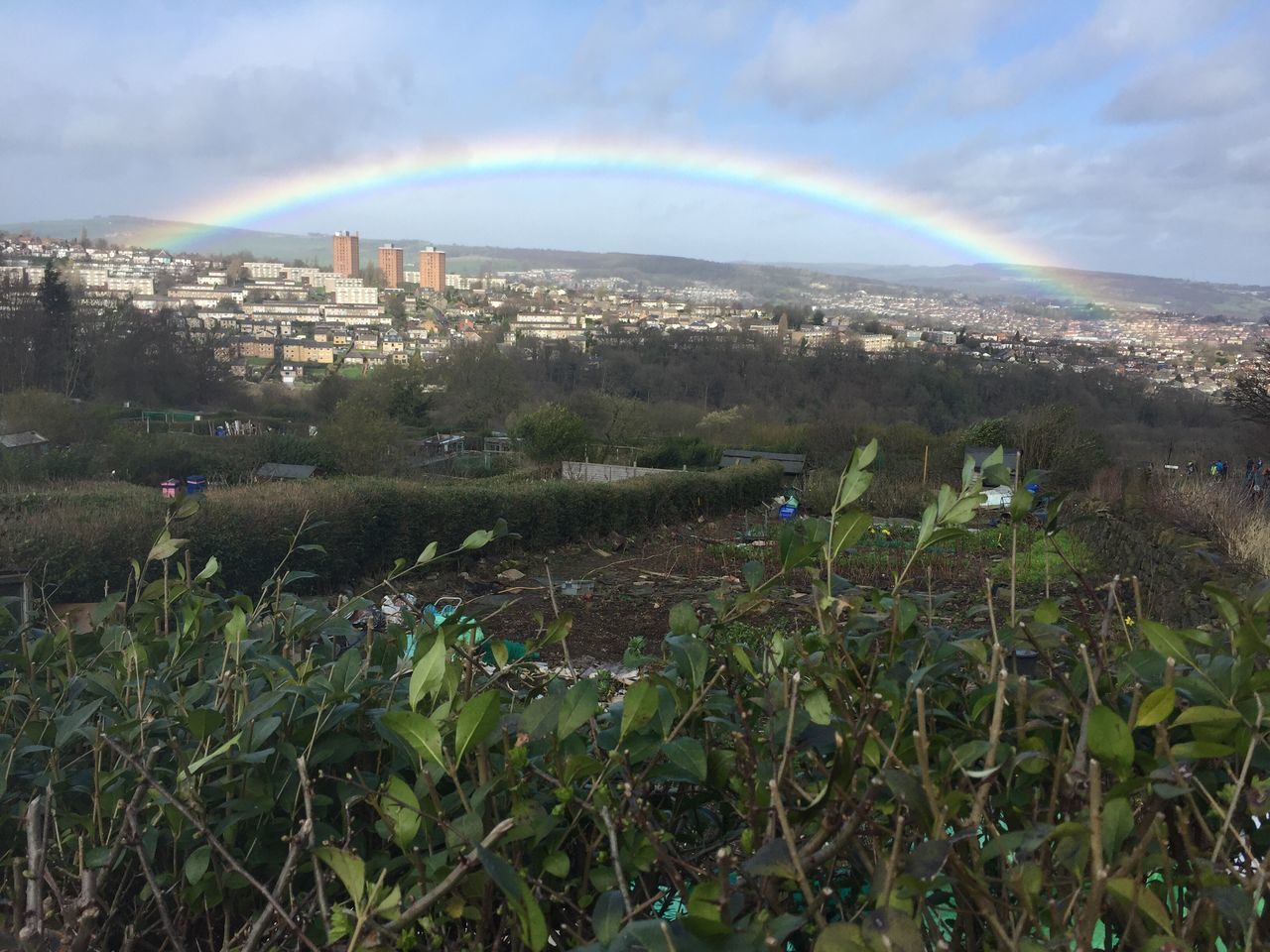 Allotment life.... Building Exterior Built Structure Architecture City Cityscape Sky Tree Double Rainbow Beauty In Nature Scenics Nature Outdoors Growth Landscape No People Day Rainbow Sheffield