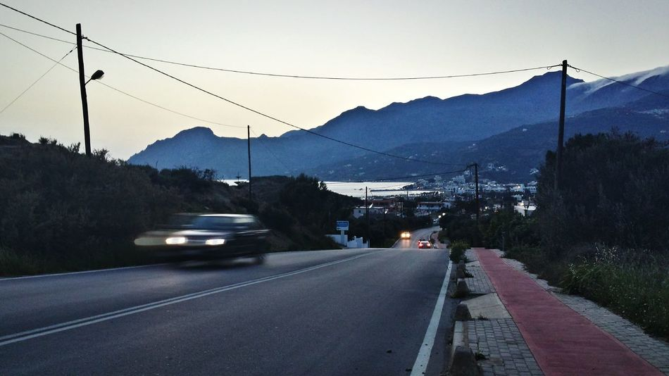 Night Photography Cars On The Road Photography In Motion in Plakias , Crete Greece Need For Speed