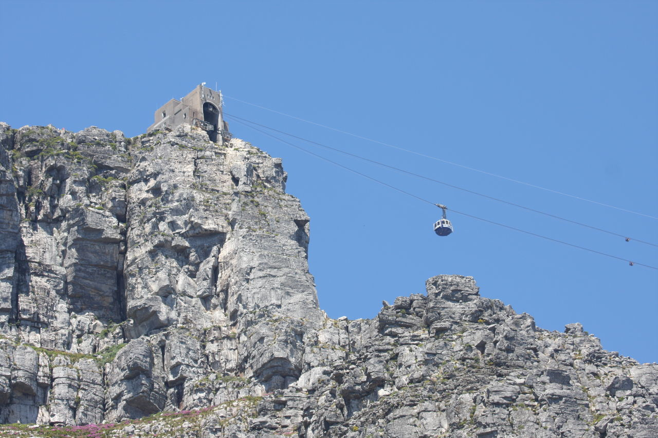 Blue Cable Car Clear Sky Day Low Angle View Mountain Mountain Peak Mountain Range No People Outdoors Sky Table Mountain