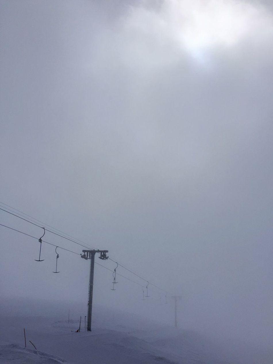 Cransmontana Slope Skiing Ski Minimalism Minimal Snow Gloomy Day Whiteout Skilift