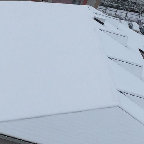 Snow White Color Roof Top Weather Cold Temperature Outdoors