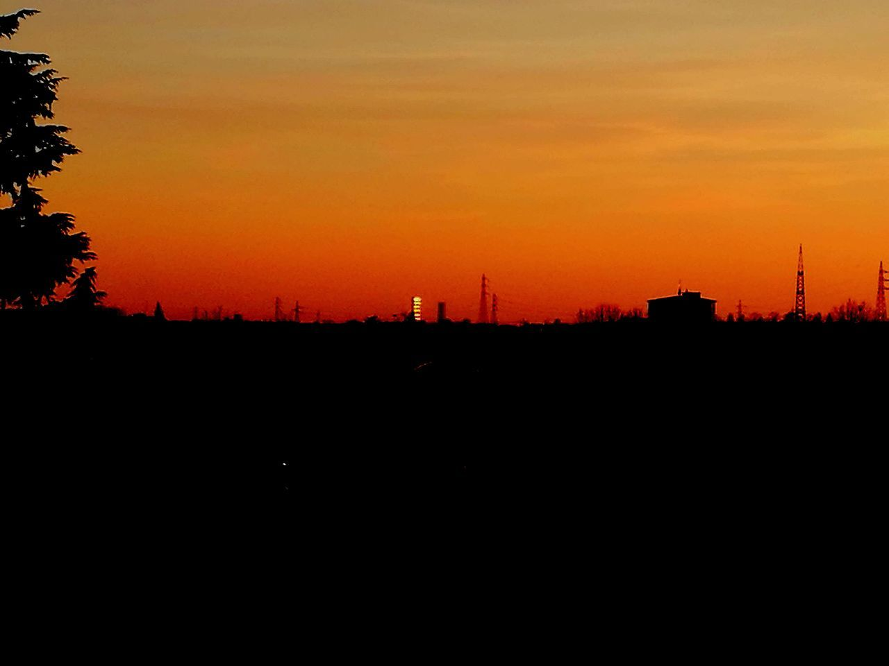 sunset, silhouette, architecture, orange color, built structure, building exterior, no people, nature, sky, beauty in nature, outdoors, city, tree, cityscape