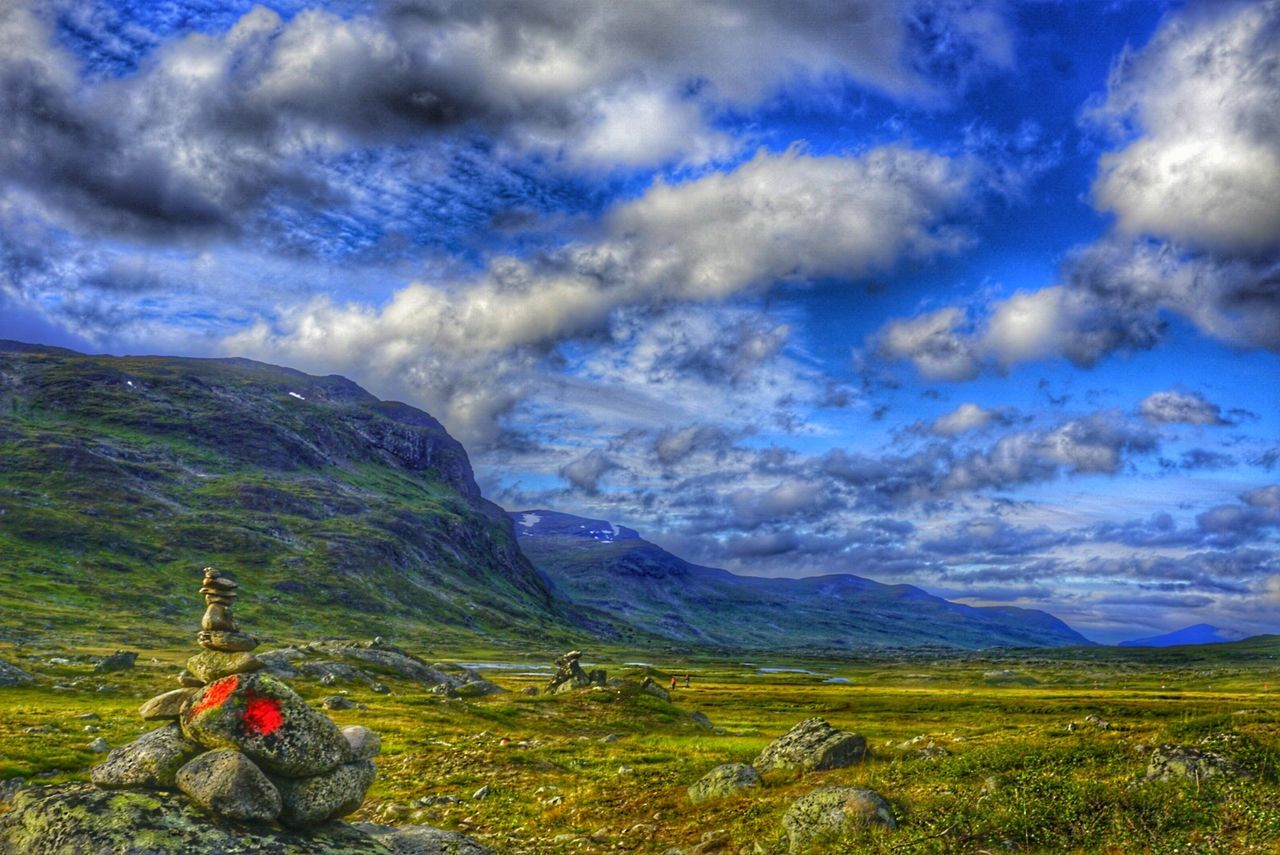 Nature Beauty In Nature Landscape Cloud - Sky Mountain Outdoors Grass Day Sky Sweden Lappland Kungsleden Trail Mountains Fjallravenclassic Fjällräven Camping Adventure Hiking Nature People Travel Destinations Summer Blue Sky Beautiful