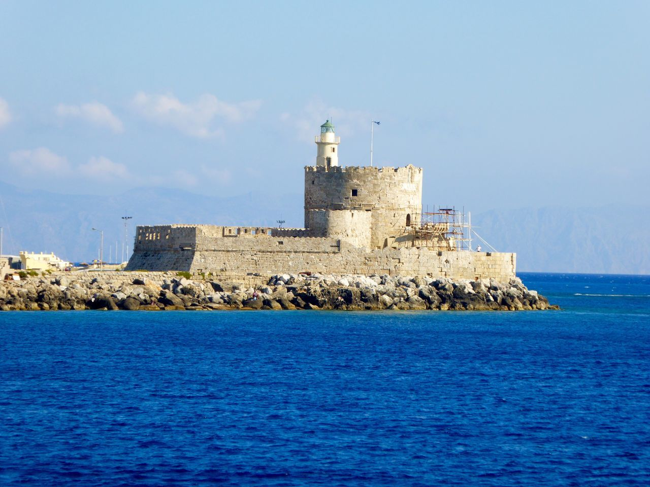 Where The Colossus Stood Colossus Rhodes Rhodes Greece Greece Castle Old Buildings Historical Building Harbour Sea Sea And Sky Sky Sky And Clouds Blue Old Building  Harbourfront Landscapes With WhiteWall Seascape Architecture