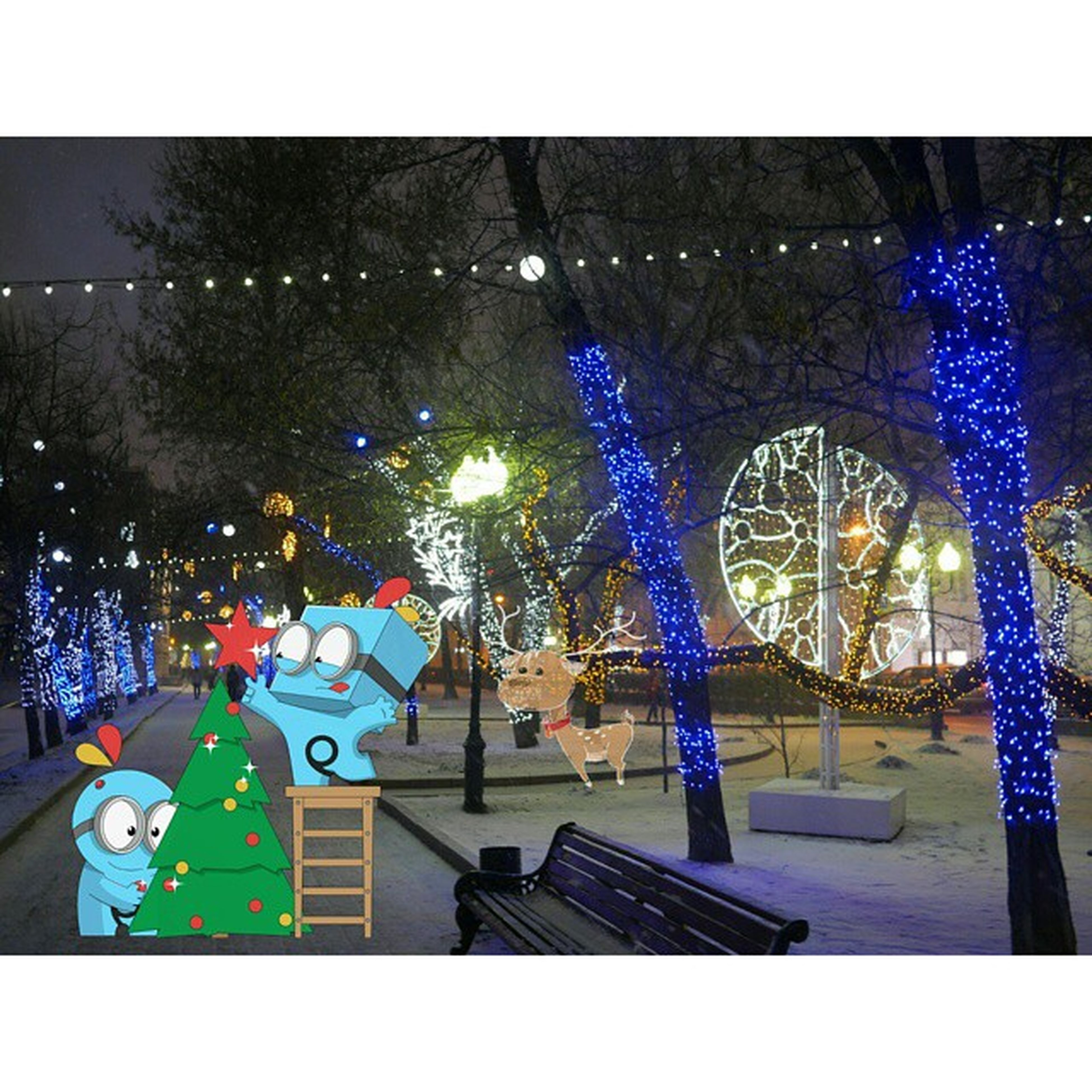 illuminated, multi colored, night, amusement park, decoration, built structure, arts culture and entertainment, architecture, lighting equipment, celebration, building exterior, amusement park ride, transfer print, art, auto post production filter, art and craft, blue, christmas, city, tree