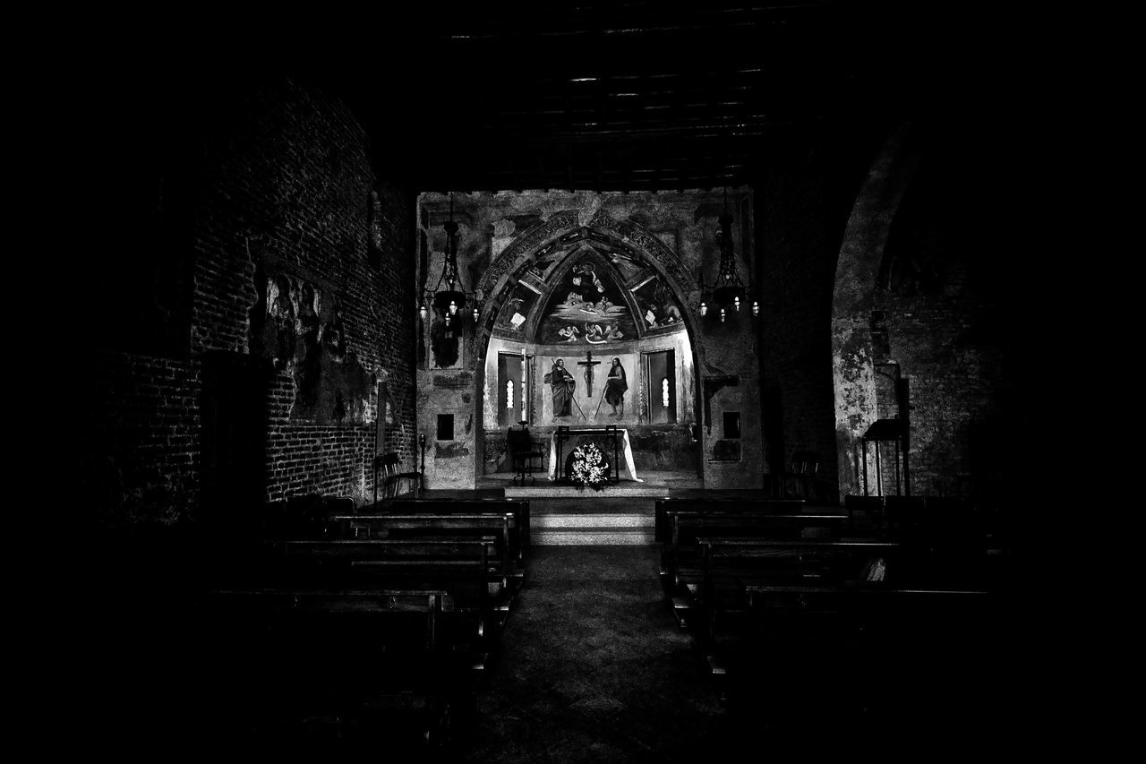 place of worship, religion, spirituality, pew, indoors, arch, architecture, built structure, history, no people, altar, day