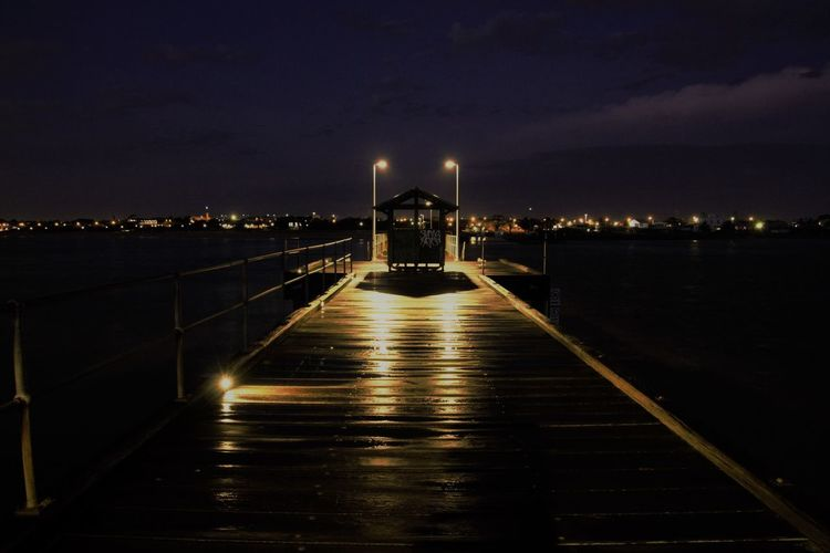 Architecture Built Structure Illuminated Mentone Pier Night No People Outdoors Sky Water