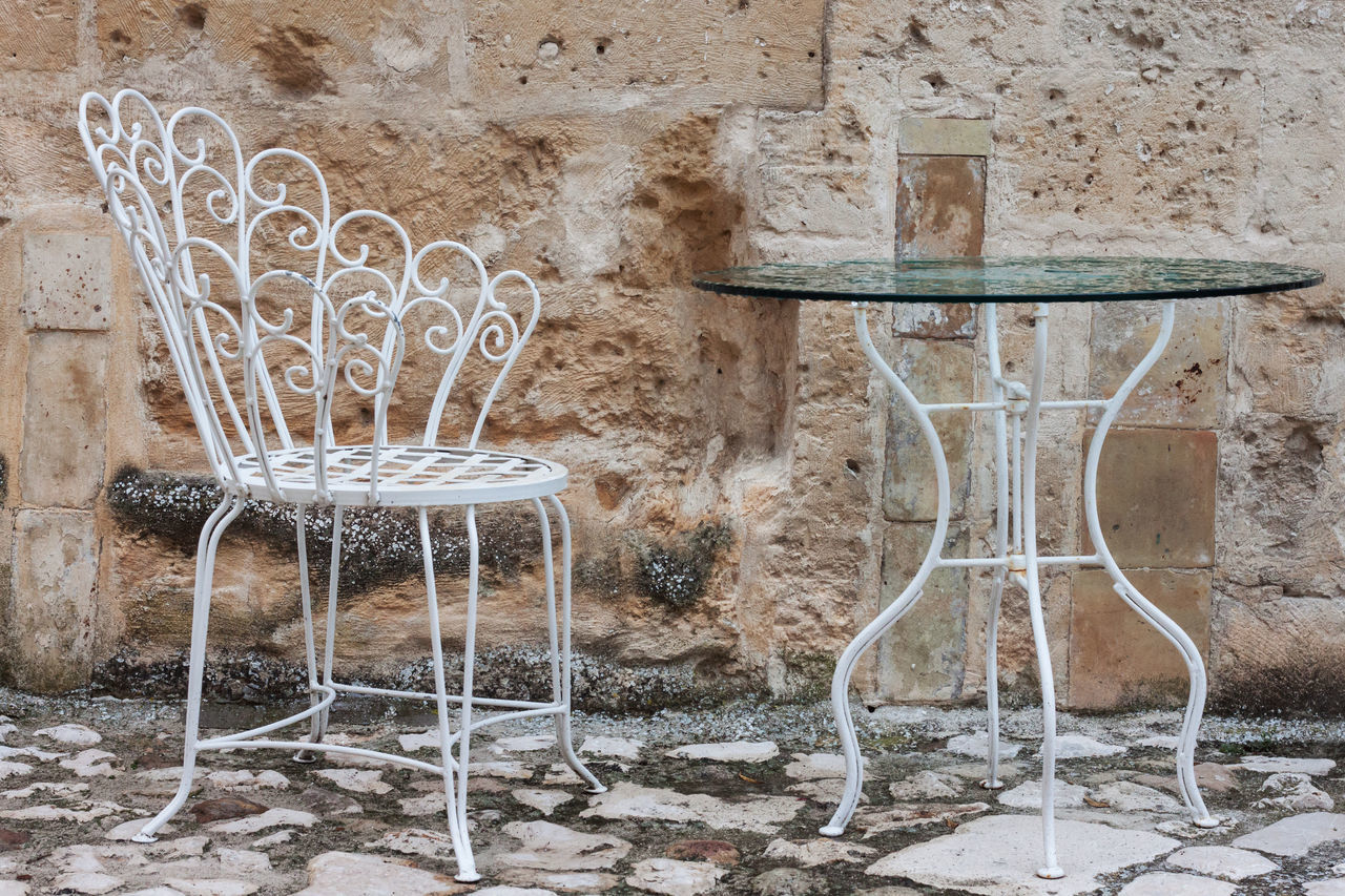 Iron Chair No People Day EyeEm Gallery EyeEm Best Shots Eyeemphotography Welcomeweekly The Week On Eyem Iron Table Glass Stone Wall Stone Floor White Chair White Table Historic City