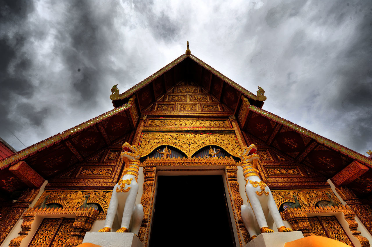 architecture, low angle view, built structure, cloud - sky, building exterior, sky, place of worship, gold colored, no people, religion, outdoors, day, architectural column