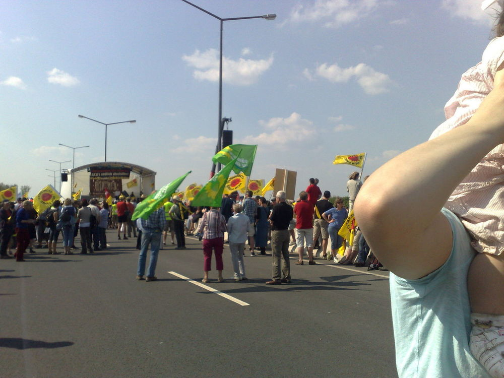 Against Nuclear Power Banners Day Demonstration Flags In The Wind  Lifestyle Many People Summer ☀ Resist