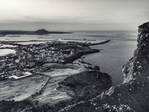 At Sungsan-ilchulbong in Jeju island, Korea IPhoneography Monochrome Landscape_bw JEJU ISLAND  Korea From My Point Of View High Angle View Beautiful Nature Topview Port