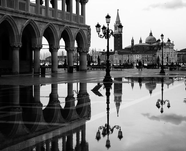 Blackandwhite Black & White Street Photography Stretphotography Street Silhouette Reflection Venice, Italy Panorama Urban Architecture