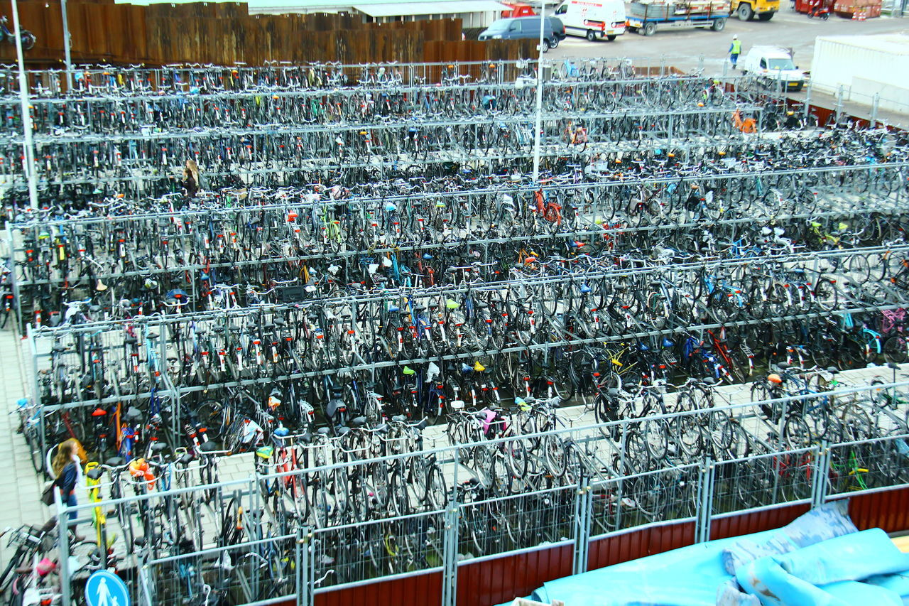 The Netherlands: Bikes & Bicycles Abundance Abundance Of Bikes And Bicycles Cars Day Horizontal No People Outdoors Rows Of Bikes Stacking Bicyles Transportation Vehicle Vertical Composition
