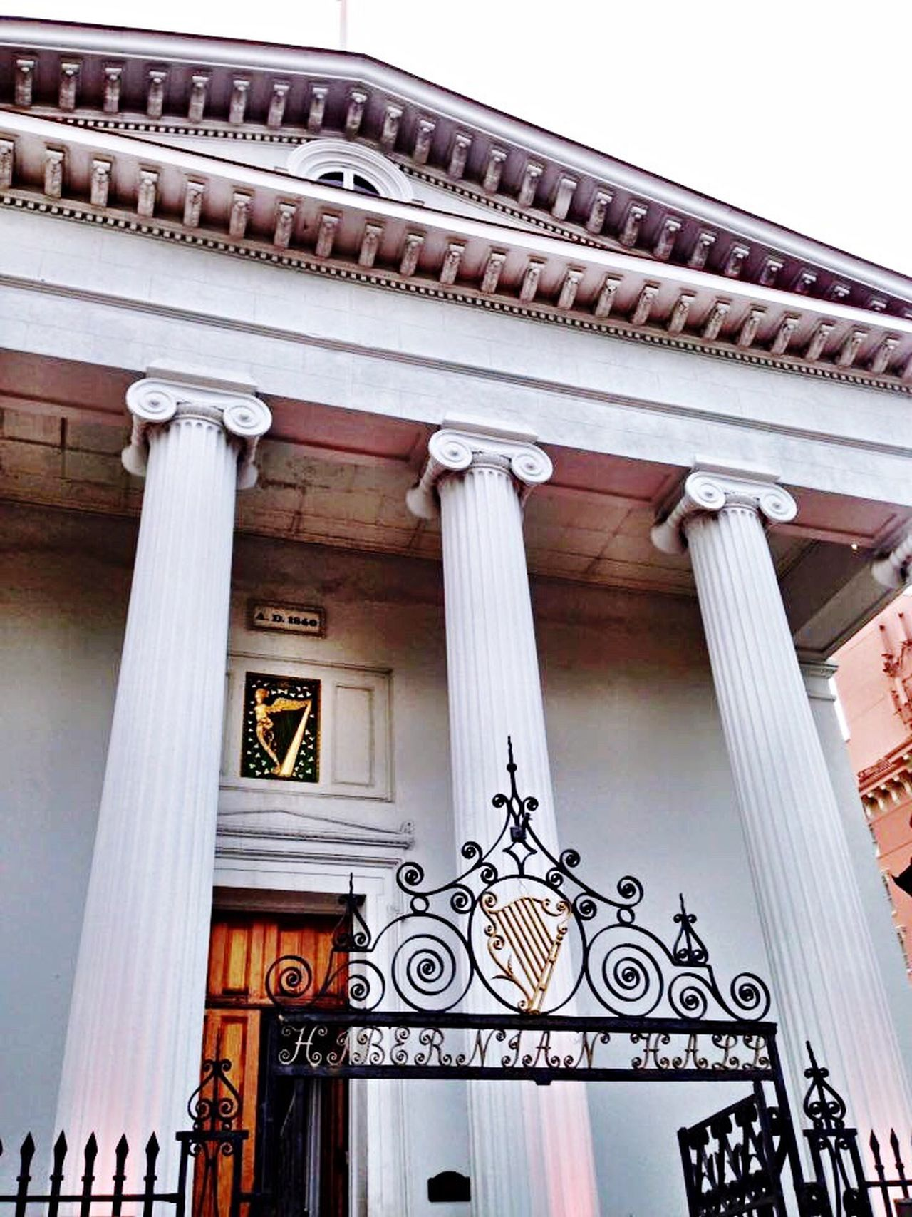 Charleston SC Hibernian Hall Music Architecture Wrought Iron Harp Classical Architecture