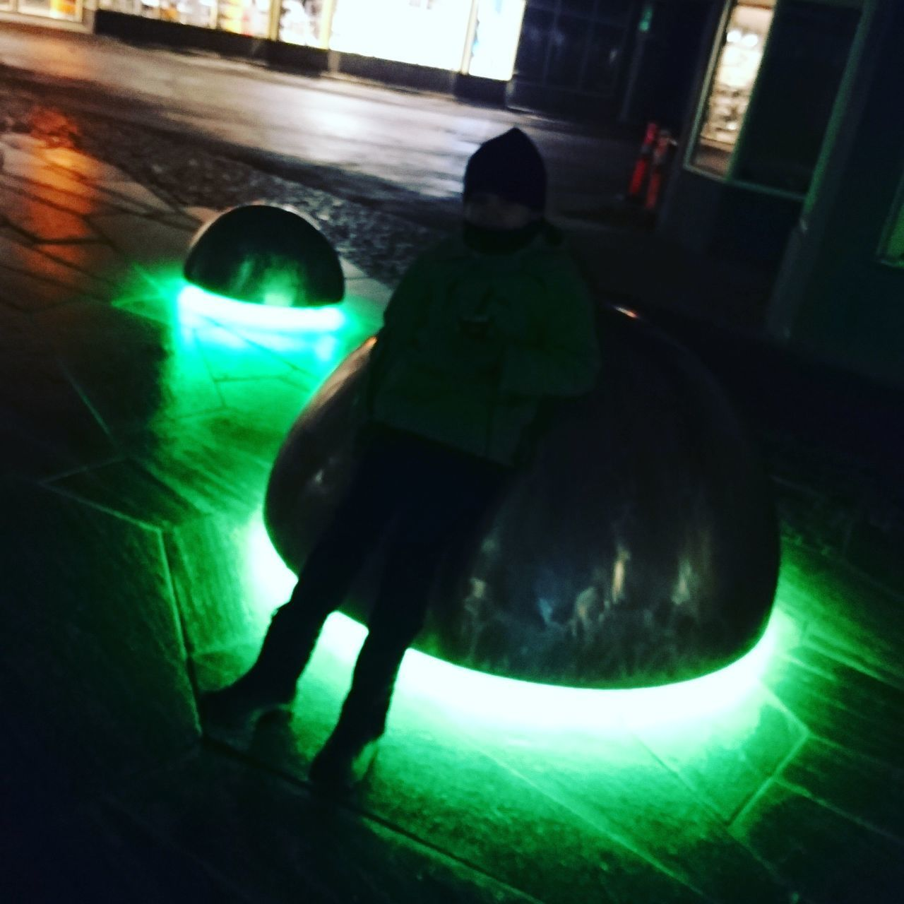 A late evening walk past som sculptures with lights. . Silhouette Sculptures Walk Outdoors