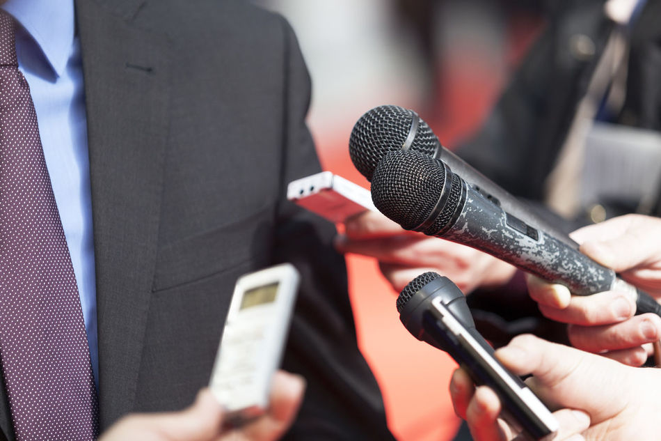 Reporters making interview with businessman or politician Adult Business Finance And Industry Close-up Communication Day Event Holding Human Hand Interview Interviews Journalist Media Microphone Music One Person Outdoors People People Watching Press Radio Tower Reporter Technology Televizsion