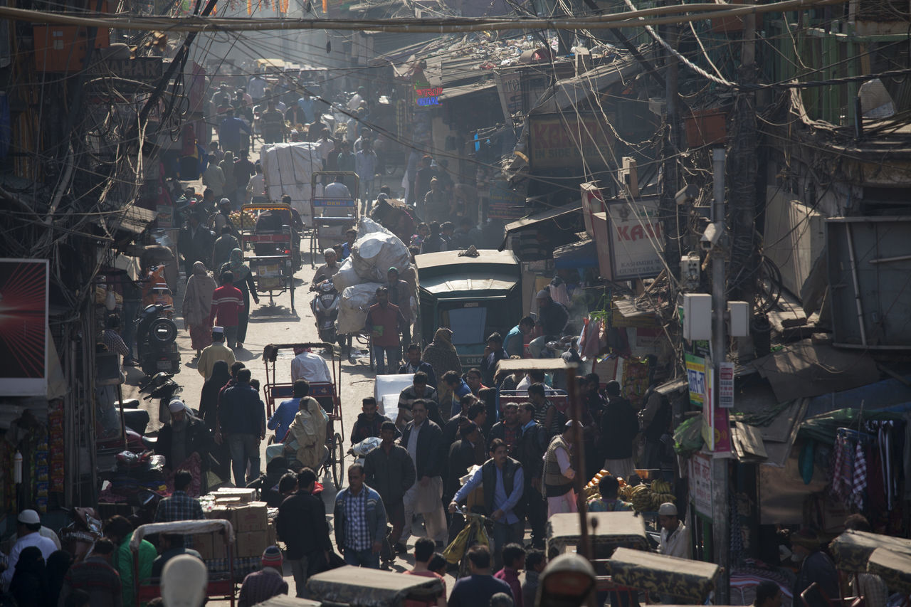 Overcrowded street in old town of Delhi, India, packed with rickshaws, motorbikes, cars and pedestrians. Busy Car Congestion Delhi Incredible India India Motorbike Old Delhi Pedestrian Rickshaw Street Traffic Transportation Wanderlust