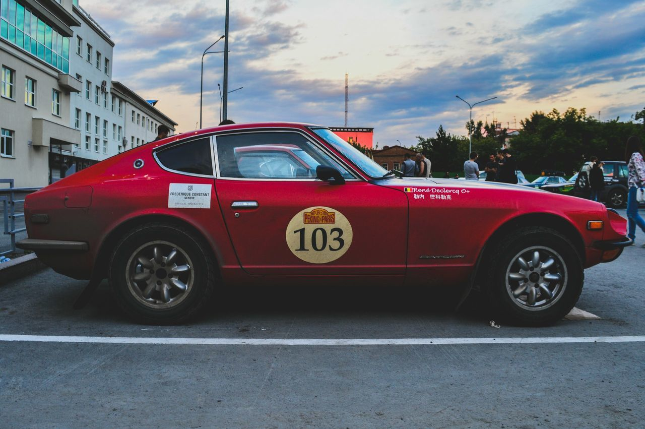 Car Red Sky Retro Styled Retro Car Old-fashioned 240Z Datsun Automotive Automotive Photography Sport