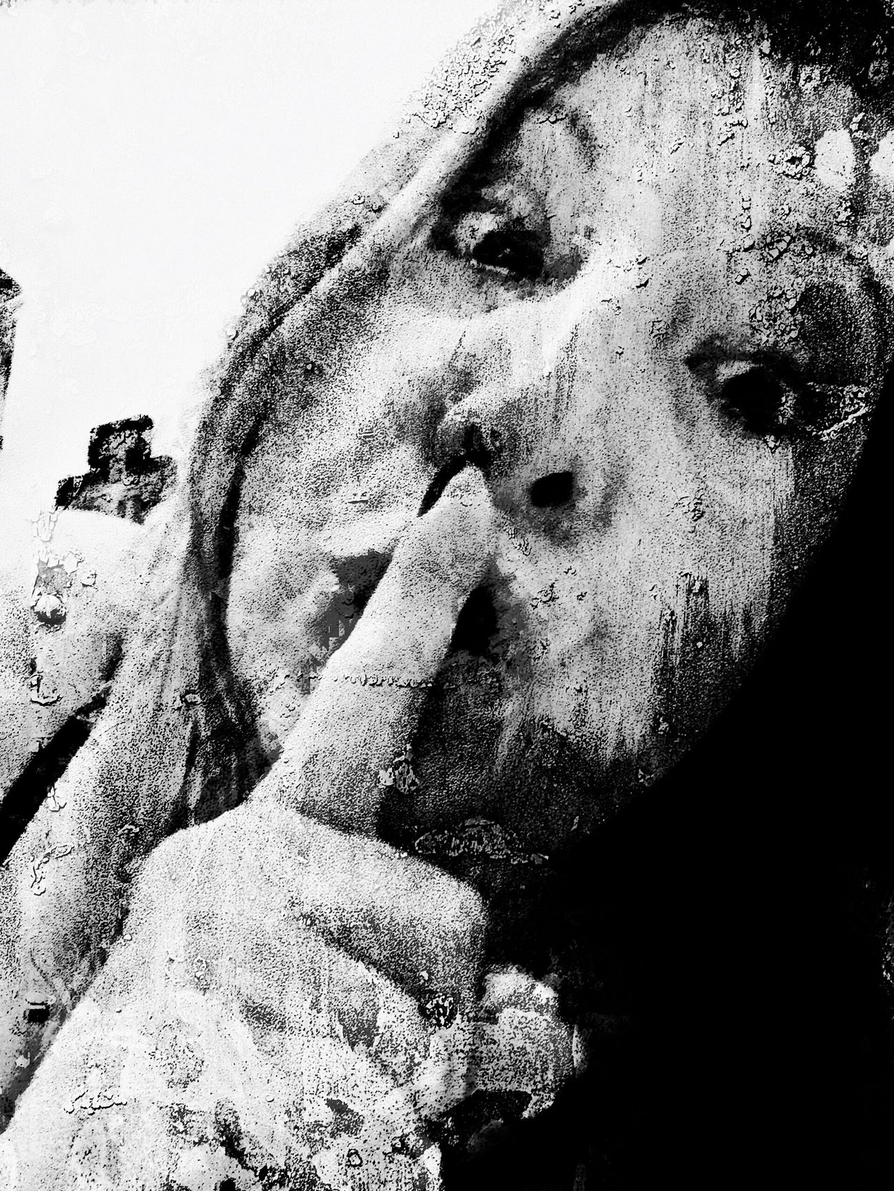 Awwww lies! Life is full of them and we believe in them daily. Human Face Close-up For My Friends That Connect Black & White Black And White Blackandwhite IPhoneArtism Abstract Me Speak No Evil Dear