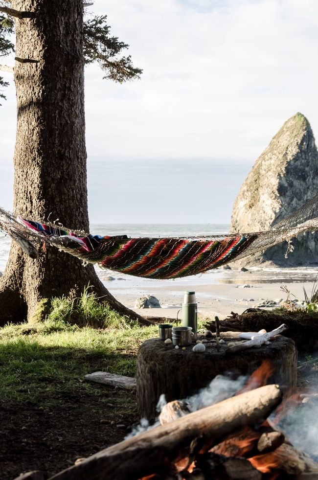 Morning coffee PNW Nature Ocean Hammock Camping Olympicnationalpark Campfire Washington