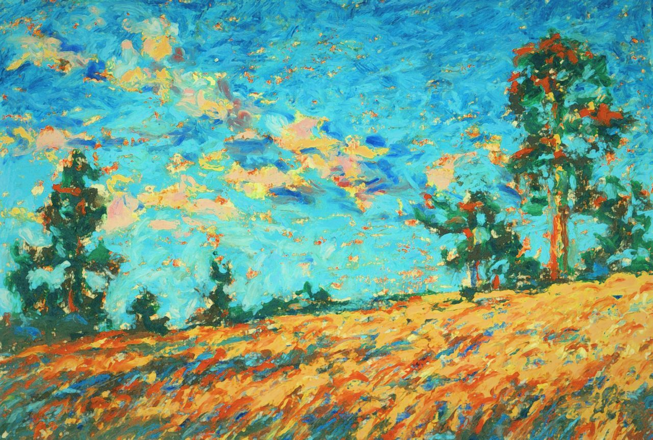 "... ""sunset Pine Trees "" in Oil Pastel , Print is available from www.cafepress.com/linandara.370640922 Oil Pastels Textured  Multi Colored Painting Orange Colorful Evening Golden Hour Trees Blue Art My Art ArtWork Sketch Arte рисунок Пастель набросок"