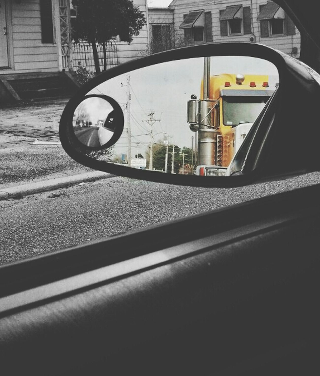 Truck Yellow Industrial Through The Mirror