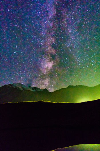 Kyrgyzstan Pamir Mountains Astronomy Beauty In Nature Galaxy Landscape Majestic Milky Way Mountain Mountain Range Nature Night No People Outdoors Pamir Scenics Silhouette Sky Star - Space Stars Tranquil Scene Tranquility