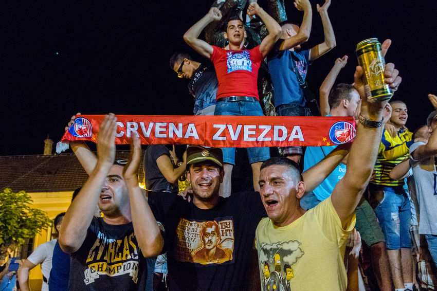 Guca, Serbia, Trumpet Festival Cheering Communication Crowd Crvena Zvezda Excitement Fan - Enthusiast Fans Large Group Of People Leisure Activity Outdoors People Real People Sport Text Togetherness