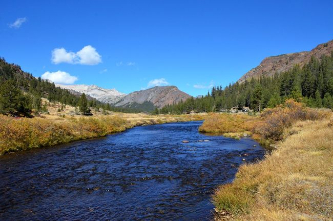 Beauty In Nature California Clear Sky Over Mountains Flowing Water Inyo National Forest Mountain Mountain Range Non-urban Scene Outdoors Riverbank Sierra Nevada Mountains Stream Tranquil Scene Tranquility Travel Destinations Waterfront