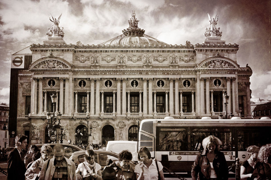Architecture Built Structure Capital Cities  City Life Cloud Cloud - Sky Day Façade Famous Place History Layers Layers And Textures Opera House Outdoors Paris Opera People People Watching Sky Tourism Tourist Travel Destinations