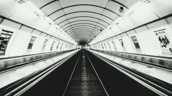 Metro Metro Station Stairs Long Blackandwhite Black White Alone Alone Time Prague Praga Nightphotography Mid Hradčany Hradčanska BIG Way To Go Home Way EyeEm Photography Photo Single Life  Scary Nightshot 2016