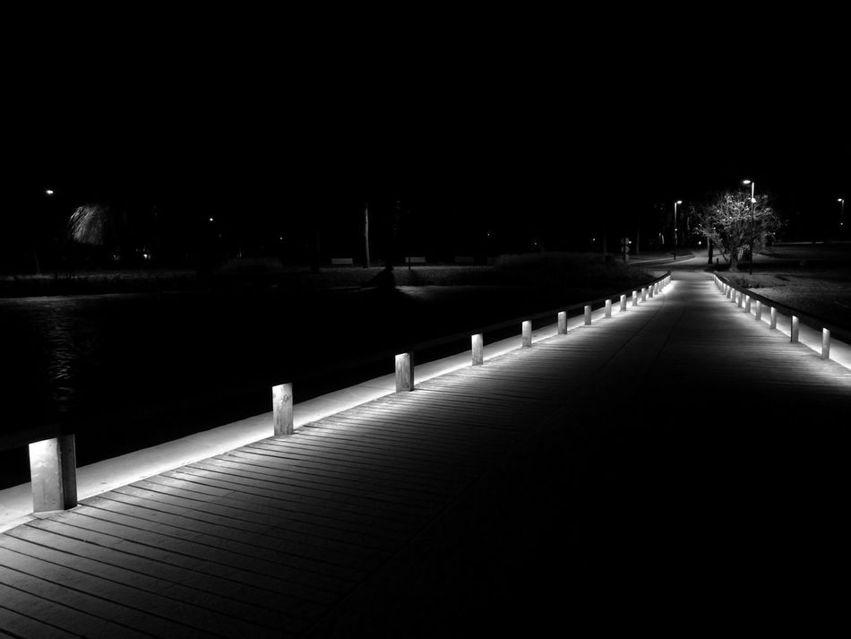 The path Night No People Outdoors Nature Bridge Lake Tree Black And White Bnw Debreceni Nagyerdő HuaweiP9 First Eyeem Photo