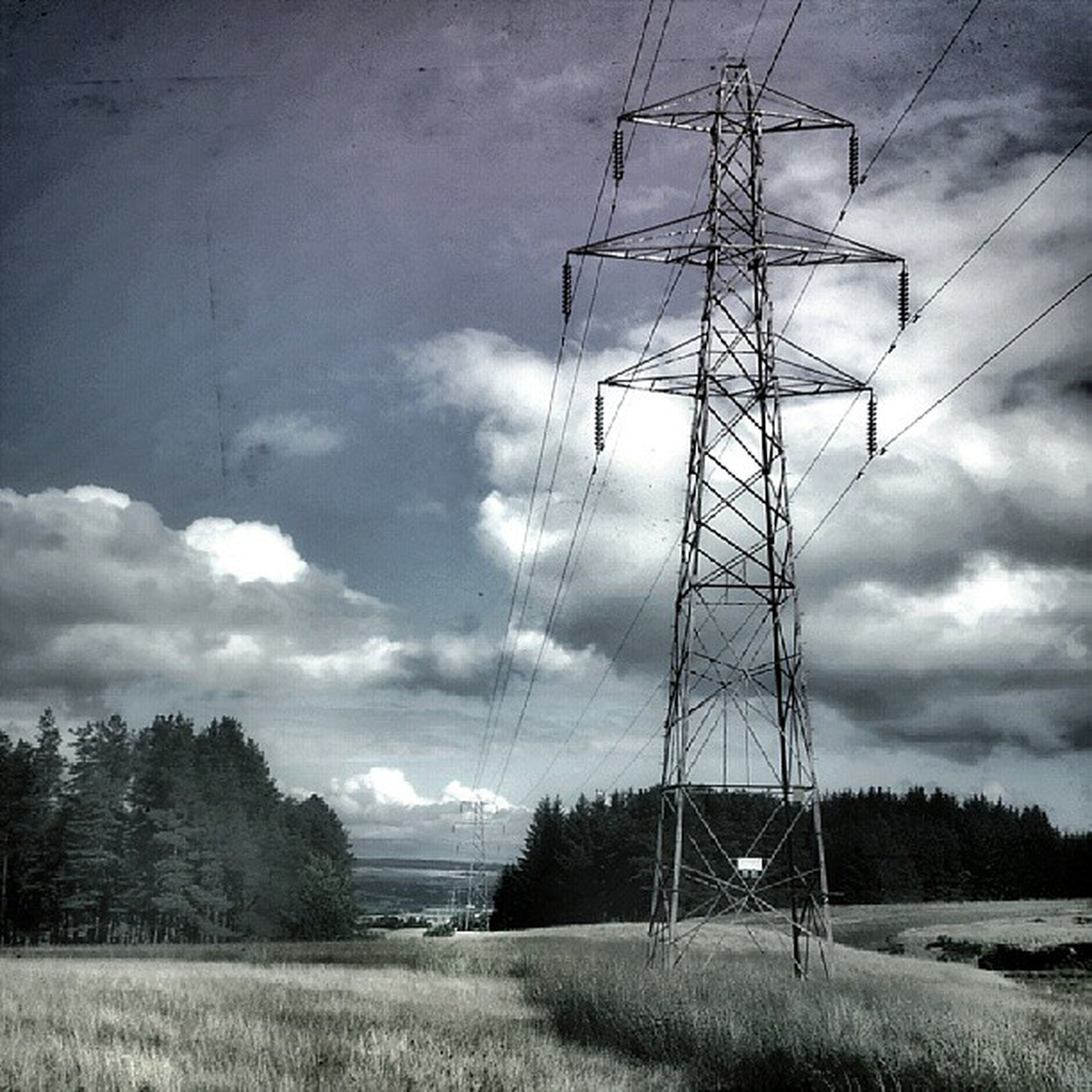 electricity pylon, power line, fuel and power generation, electricity, power supply, sky, technology, connection, field, cable, cloud - sky, landscape, cloudy, rural scene, tranquil scene, tranquility, tree, cloud, nature, power cable