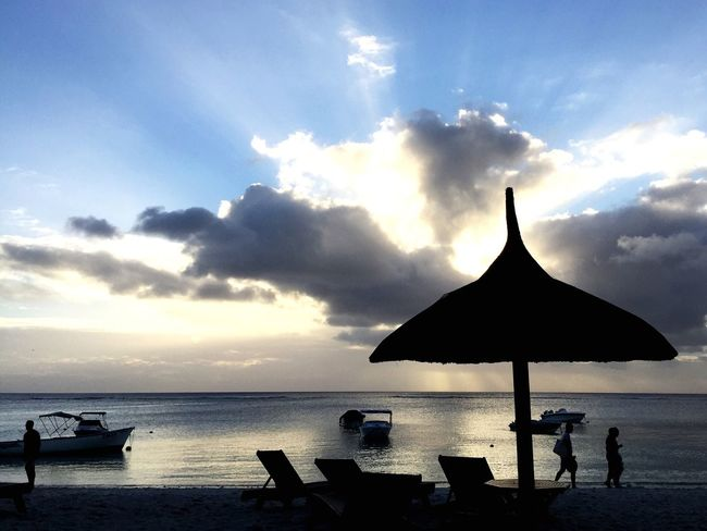 Sundowner in Mauritius Tranquility Beach Sea Lagoon Sunset Silhouette