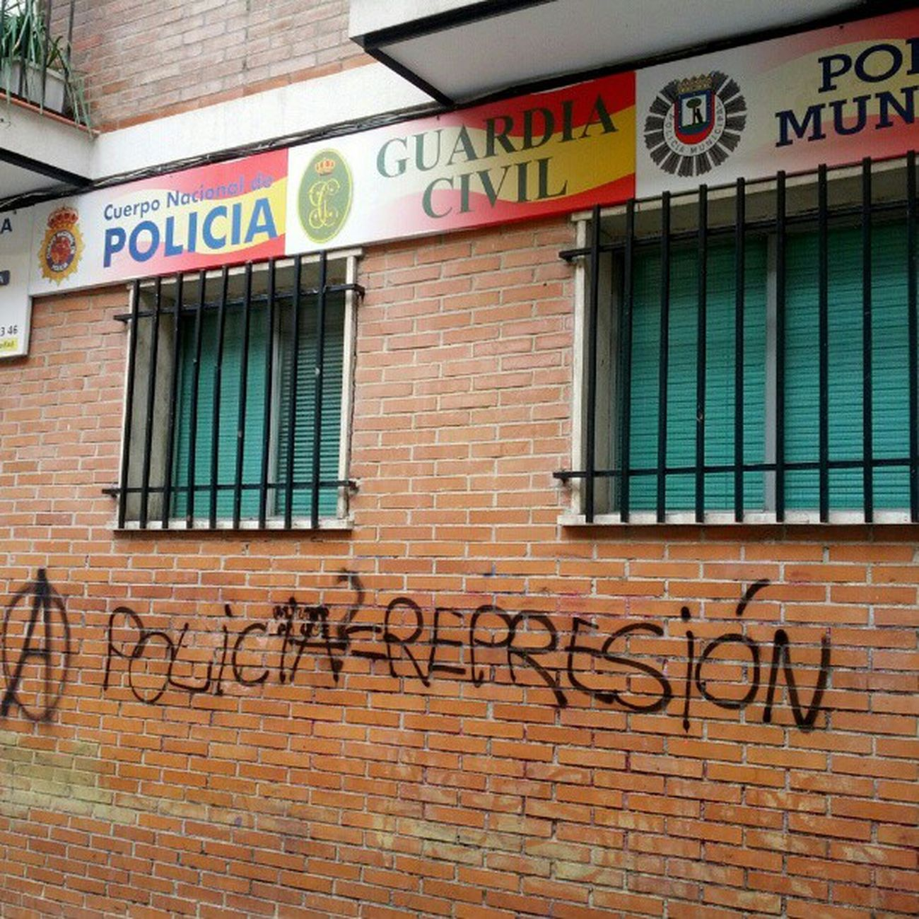 Lavapies  Policia Represion Police station acab (<) Madrid Spain graffiti