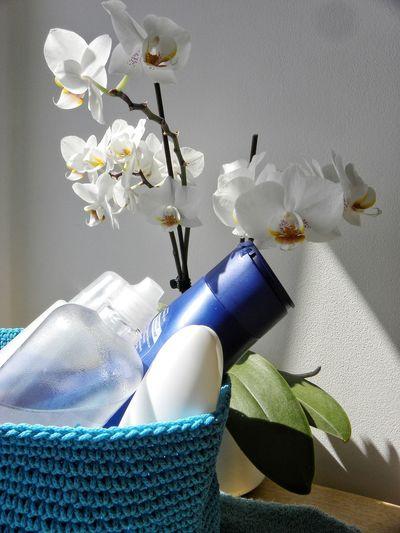 White Flowers White Colours White Orchid Bathroom Bathroom Supplies Hygiene Personal Hygiene Studio Shot House Interior Toiletries Towels Cleanliness Lifestyle Bathroom Shelf Clean Sky Blue Laundry Shower Supplies Moisturizer Shower Weaving Cotton
