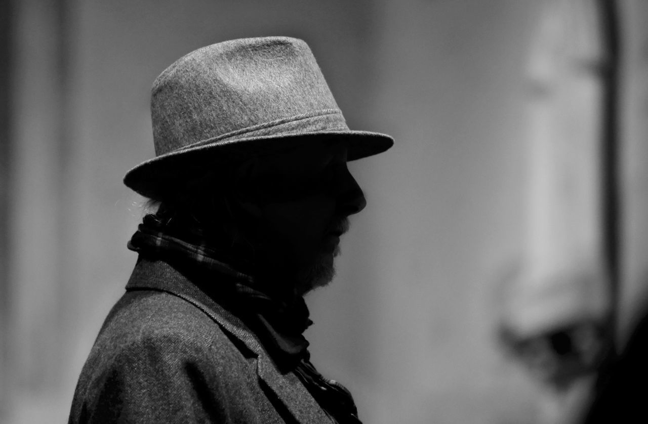 Headshot Real People One Person Men Hat Silhouette Man Light And Shadow Shadow