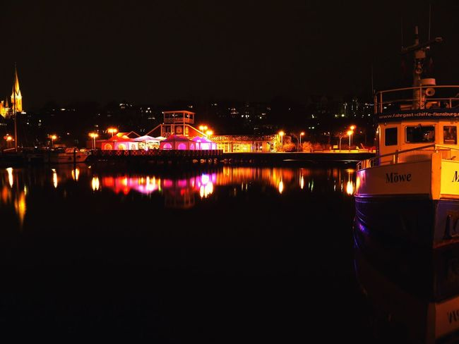 Flensburg Night Lights City Lights Lights On Water